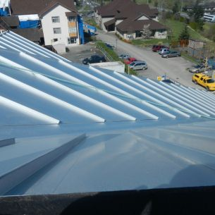 Standing seam metal roofing on Rosalie's Village